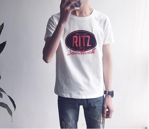 FINDSENSE MD 韓國 潮 男 時尚 休閒 RITZ字母印花 短袖T恤