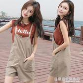 吊帶褲 吊帶短褲休閒兩件套裝女韓版學生寬鬆闊腿褲  『名購居家』