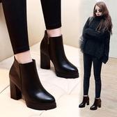 馬丁靴女粗跟秋冬新款高跟短靴防水台尖頭靴百搭黑色皮面單靴裸靴 露露日記