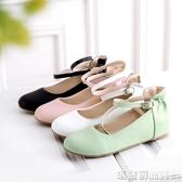 娃娃鞋 日繫森女交叉帶韓版小清新一字扣甜美內增高厚底坡跟學生單鞋女鞋  瑪麗蘇