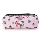 〔小禮堂〕Hello Kitty 帆布拉鍊筆袋《粉黑.疊蘋果》收納包.化妝包.鉛筆盒 4901610-65148