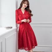 剛柔襯衫V領蕾絲謝師宴宴會洋裝[99100-QF]美之札