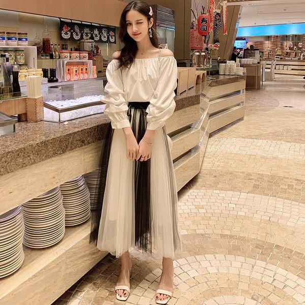 VK旗艦店 韓國風名媛氣質系腰帶網紗裙套裝長袖裙裝