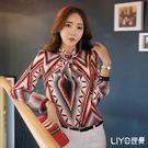 LIYO理優幾何印花立領雪紡襯衫E635017