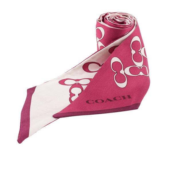 【COACH】CC Logo 包包可用提把絲巾(乳白色/紫羅蘭) 30068 C0X