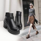馬丁靴女英倫風裸靴子女靴韓版百搭粗跟切爾西短靴高跟女鞋 『魔法鞋櫃』