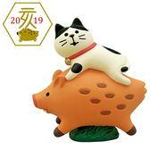 Hamee 日本 DECOLE concombre 歡喜迎豬年 療癒公仔擺飾 (貓咪騎山豬) 586-922456