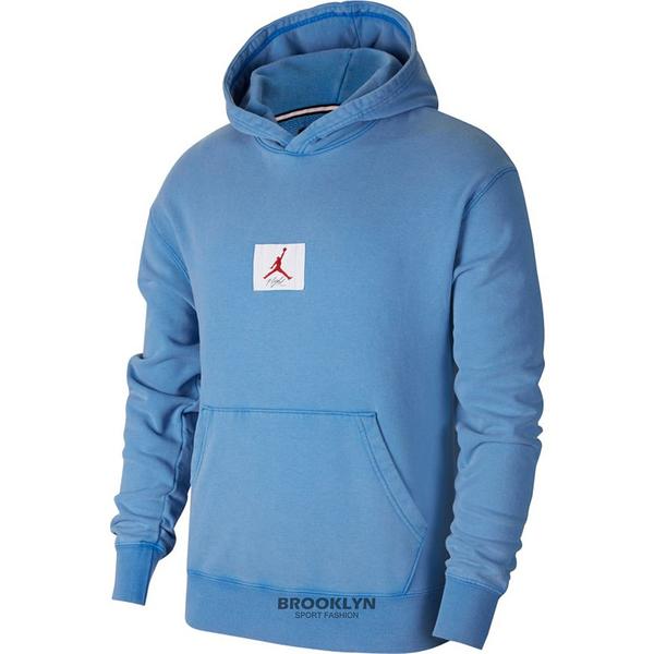 NIKE 帽T JORDAN FLIGHT 水洗藍 長袖 男女 (布魯克林) CZ6094-403