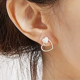 【TT48】日韓耳釘飾品 貝殼雙愛 心心相印 耳釘 耳環 耳飾
