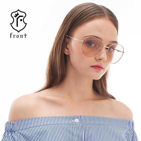 【Front 太陽眼鏡】Roar-五色可挑選#金屬超大圓框太陽眼鏡/墨鏡-修飾臉型極佳