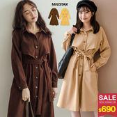 MIUSTAR 雙層琥珀排釦綁帶麂皮洋裝(共2色)【NG001927】預購