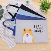 韓國創意文具 簡約小清新A4文件袋 學生帶手提拉錬裝書袋 道禾生活館