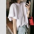 荷葉邊上衣 2021夏季新款韓版純色百搭寬鬆T恤簡約休閒立體荷葉邊短袖上衣女 寶貝寶貝計畫 上新