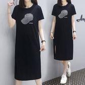 特賣款不退換棉質洋裝T裙XL-5XL中大尺碼33268夏裝女裝胖mm燙鑽時尚中長款寬鬆連身裙1號公館