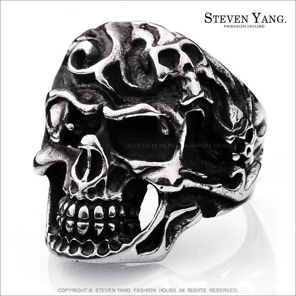 鋼戒指 西德鋼飾「獨霸一方」骷髏 型男造型款