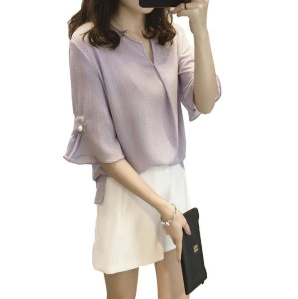 雪紡上衣 韓版寬鬆V領襯衫 花漾小姐【現貨】
