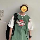 夏季短袖t恤男港風拼接撞色體恤正韓潮流運動半袖上衣