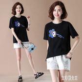大碼印花短袖棉T恤女韓版休閒遮肚顯瘦夏裝寬鬆圓領上衣 yu4732【艾菲爾女王】