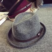 秋冬英倫時尚復古皮帶羊毛禮帽小沿捲邊男女士錐頂爵士禮帽潮韓版 錢夫人