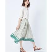 CANTWO撞色條紋不規則長裙-二色