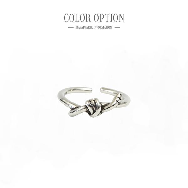 戒指 綁帶打結刻紋S925銀C型開口戒指-BAi白媽媽【306059】