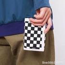 皮夹 萬斯黑白棋盤格錢包新款男女多卡位三折零錢包帆布包短款皮夾街頭 星河光年
