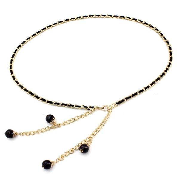 腰鍊女款細珍珠裝飾百搭配連身裙子腰帶女士韓版時尚金屬皮帶裙帶