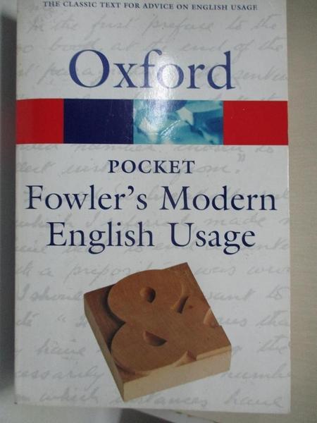 【書寶二手書T5/字典_C9Y】Pocket Fowler's Modern English Usage_Allen, Robert E. (EDT)