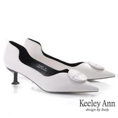 Keeley Ann極簡魅力 個性側空全真皮貓跟鞋(米白色) -Ann系列
