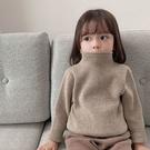 兒童毛衣 女童2020秋冬裝加絨半高領毛衣寶寶純色百搭寬松針織衫兒童打底衫 快速發貨