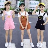女童夏季背帶短褲套裝4-12歲中大童兒童短袖背帶褲兩件套純棉洋氣