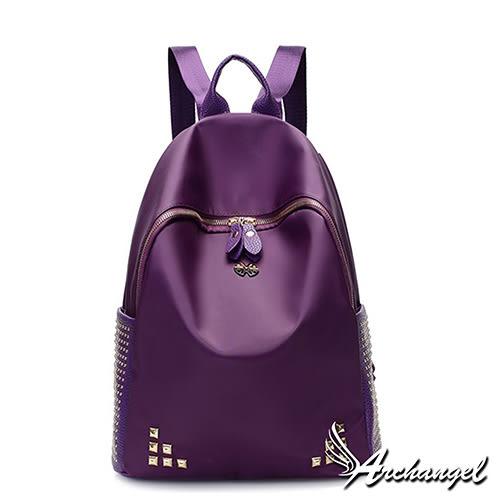 阿卡天使鉚釘學院風雙肩優雅後背包(優雅紫)FB850-PL