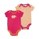 [Mamae] 夏裝新款(2件套)美國 yoga Sprout 純棉粉色大象造型包屁衣 短袖女寶寶哈衣/嬰兒連體衣/連身衣