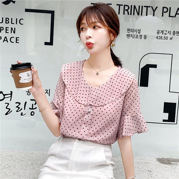 VK旗艦店 韓國風喇叭袖波點雪紡衫娃娃領襯衫短袖洋裝