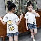 *╮S13小衣衫╭*小中大男女童熊熊印花白色短袖T恤1070405