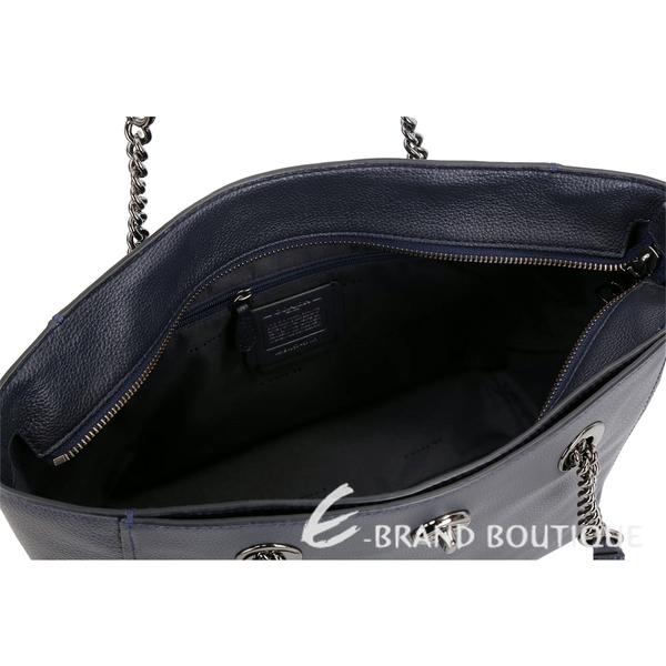 COACH 黑銀字轉釦荔紋皮革鍊帶托特包(黑夜藍) 1840027-34