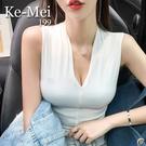 克妹Ke-Mei【AT65745】AMAZING!俏皮女人味心機V領低胸上衣