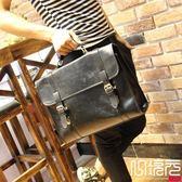 正韓男包復古箱型公文包休閒包郵差包原創設計一次元