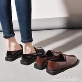 英倫風chic單鞋ins一腳蹬小皮鞋女復古學生百搭 水晶鞋坊