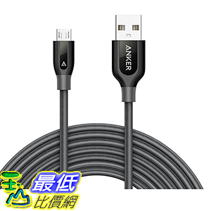[106美國直購] Anker PowerLine+ Micro USB(10ft)The Premium Durable Cable[Double Braide Nylon] 充電線 傳輸線