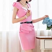 洋裝-荷葉邊新款韓版職業名媛修臀塑身短袖包臀連身裙71ar31【巴黎精品】