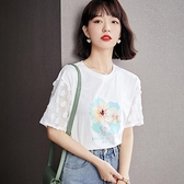 短袖T恤 韓版蕾絲拼接小衫洋氣寬松設計感小眾上衣女T604紅粉佳人