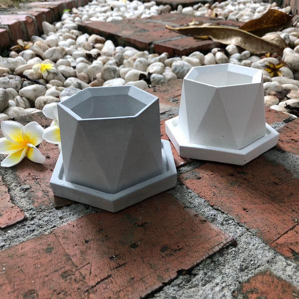 (BEAGLE) 六角幾何型創意水泥盆栽(小)+托盤 多肉水泥花器/仙人掌水泥花盆/水泥植栽/水泥盆器