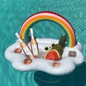 充氣彩虹云朵冰盤冰鎮沙拉盤水上飲料杯托盤泳池派對用品拍照道具·  9號潮人館