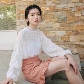 長袖蕾絲衫襯衫女學生超仙的上衣洋氣雪紡白色泡泡袖初秋時尚小衫 亞斯藍