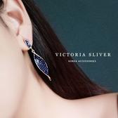 韓國東大門銀針彩鑽網紅款柳葉耳飾