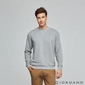 【GIORDANO】 男裝經典素色大學T恤-51 花紗霜灰