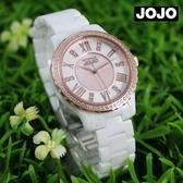 【萬年鐘錶】JOJO 陶瓷鑽錶 NATURALLY  簡約優雅氣質陶瓷錶   白x玫瑰金x白  JO96900-80R