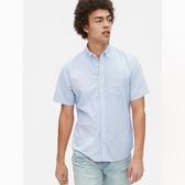 Gap男裝輕盈質感純色短袖襯衫573736-藍色條紋