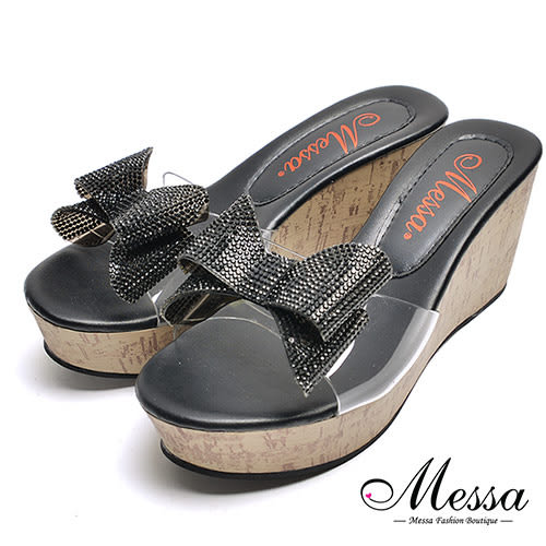 【Messa米莎專櫃女鞋】MIT閃亮蝴蝶結厚底涼拖鞋-黑色